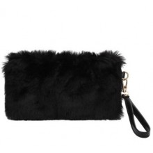 Women Korean Fashion Sweet Lady Zipper Pocket  Small Hairy Handbag