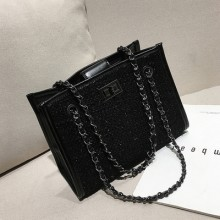 Women Korean Fashion Wild Style Weave Open Pocket Chain Shoulder Bag