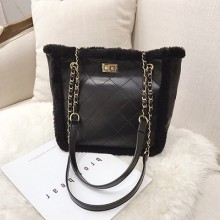 Women Korean Fashion Youth Pop Rhombic Chain Fur Shoulder Bag