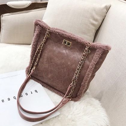 Women Korean Fashion Youth Pop Rhombic Chain Fur Shoulder Bag