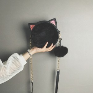 Women Korean Youth Fashion Small Round Messenger Chain Shoulder Bag
