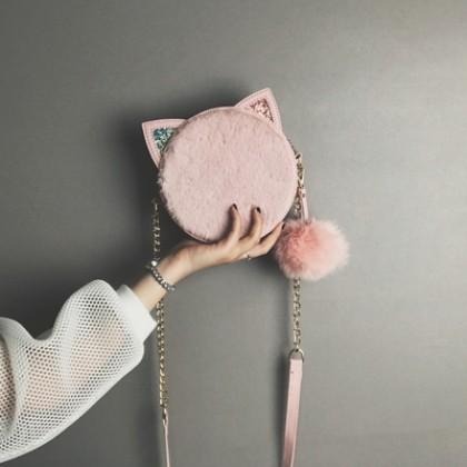 Women Korean Youth Fashion Small Round Messenger Chain Shoulder Bag