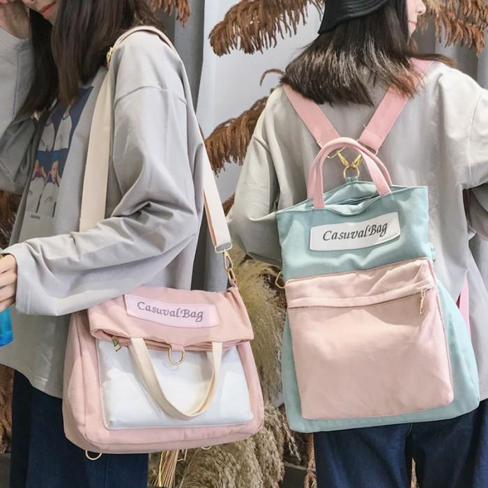 01c28ee62b6c Women Korean Fashion Canvas Multipurpose 3 Way Messenger Bag