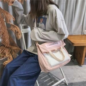Women Korean Fashion Canvas Multipurpose 3 Way Messenger Bag