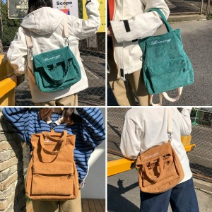 Women Korean Fashion Velvet Casual  3 Way Messenger Bag