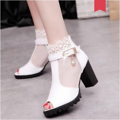 Women Korean Trend Fish Mouth High Heels Sexy Fashion Shoes
