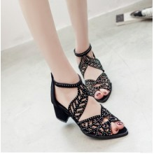 Women Korean Trend Suede Fish Mouth  High Heel Fashion Shoes