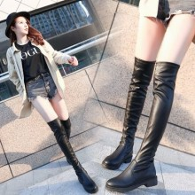 Women Korean Fashion Low Heel Over The Knee Leather Fashion Boots