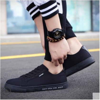 Men's Korean Trend  Lace Up Lightweight Canvas Casual Shoes