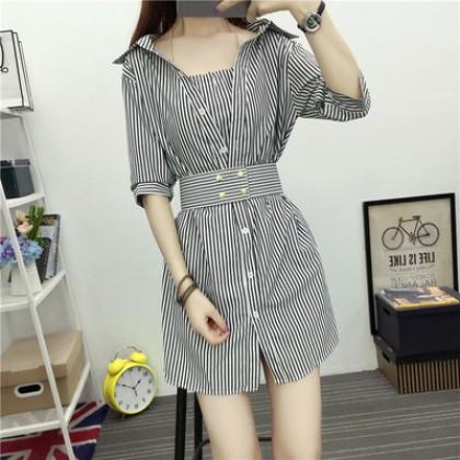 Women Korean Fashion Hanging Neck Bottom Skirt Two Piece Dress