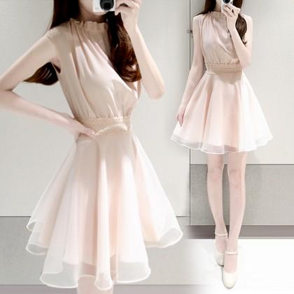 Women Korean Fashion Lotus Leaf Collar Short Skirt Princess Dress