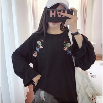 Women Korean Fashion Sweet Style Loose Trumpet Sleeve Embroidered Top