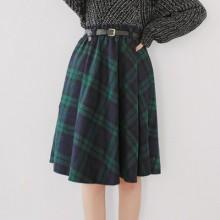 Women Korean Fashion Sweet Style High Waist Plaid Skirt