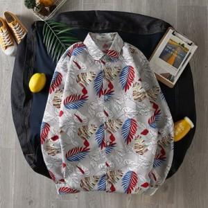 Men's Korean Youth Trend Retro Hawaii Print Long Sleeved Shirt