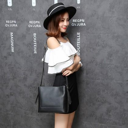 Women Korean Fashion Retro Wild Style Messenger Bucket Bag