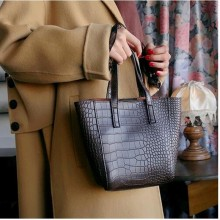 Women Korean Fashion Retro Stone Pattern Shoulder and Handbag