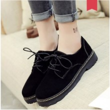 Women Korean Fashion Round Head  Deep Mouth Lace Up Casual Shoes
