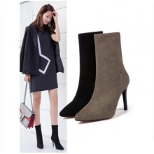 Women Korean Fashion Sexy Suede High Heel Ankle Boots