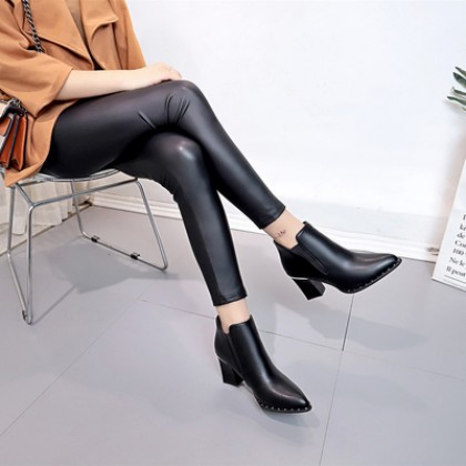 Women Korean Fashion  British Style Pointed Thick Heel Martin Boots
