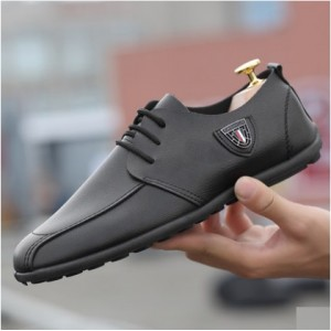 Men's Korean Trend Wils Style Casual Leather Lace Pea Shoes