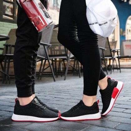 Men's Korean Youth Trend Fashion Breathable Lace up Couples Walking Shoes
