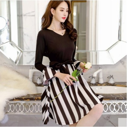 Women Korean Fashion  Casual V Neck  Long Sleeve Dating Dress