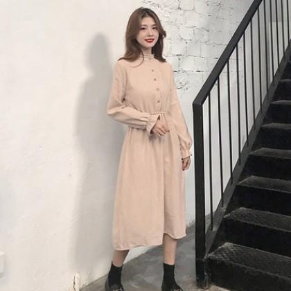 Women Korean Fashion Retro Corduroy A Skirt Type Dress