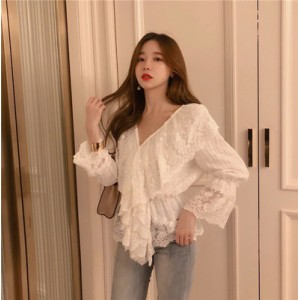 Women Korean Fashion New Style Hollow Lace White Long Sleeved Top