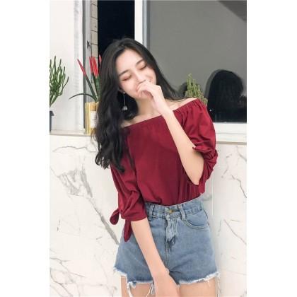 Women Korean Fashion Off Shoulder Loose Half Sleeve Top