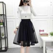 Women Korean Fashion High Waist Pleated Lace Skirt