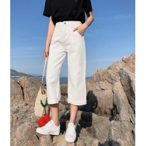 Women Korean FashionWild Style High Waist Straight Cropped Trouser