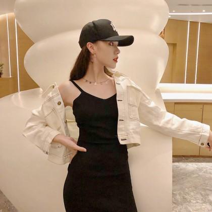 Women Korean Fashion Sweet Style Long Sleeve Denim Beige Cardigan
