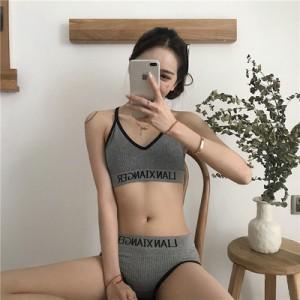 Women Korean FashionSexy Cross Back Tube Top Non Wiore Underwear Set