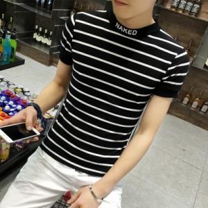 Men's Korean Trend Youth Pop Style High Collar Short Sleeve Slim Fit T Shirt