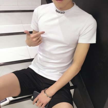 Men's Korean Trend Youth Pop Style High Collar Short Sleeve Slim Fit T Shirt