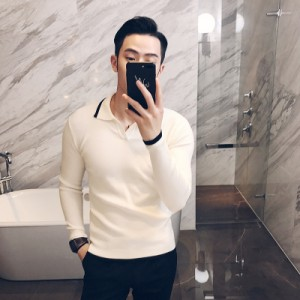 Men's Korean Trend Hedging Style Shirt Collar Casual Wool Sweater