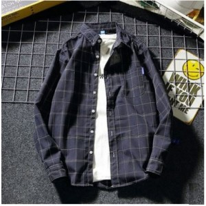 Men's Korean Trend Harajuku Style Casual Plaid Shirt