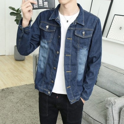 Men's Korean Trend Youth Style Ripped Hole Denim Casual Jacket