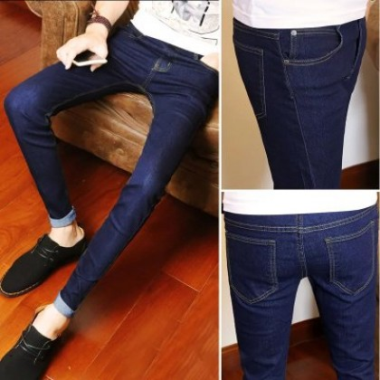 Men's Korean Trend Youth Style Trouser Low Waist Slim Fit  Jeans