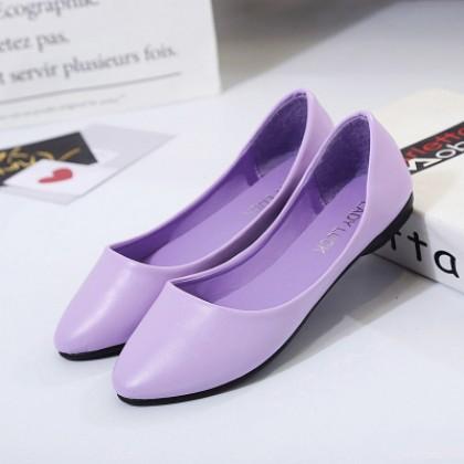 Women Korean Fashion Shallow Mouth Pointed Leather Flat Shoes Plus Size