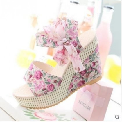 Women  Korean  Harajuku Style  Wild Bow  Floral Wedge Heel Plus Size