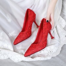 Women  Korean Fashion Pointed Lace Design  Wedding Stiletto