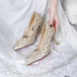 Women  Korean Fashion Pointed Lace Design  Wedding Stiletto