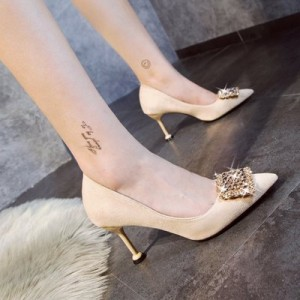 Women  Korean  Sweet Style Pointed Suede Rhinestone Wedding Shoes