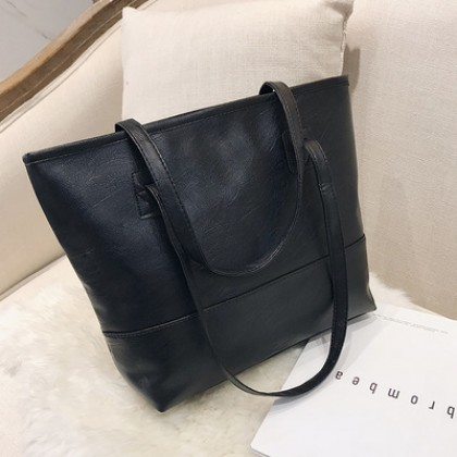 Women Korean Wild Fashion Soft Leather Square Large Tote Bag