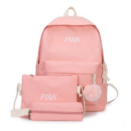 Women Korean  Fashion Trend  3Piece Color Canvas Campus Bag