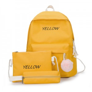 Women Korean  Fashion Trend  3Piece Color Canvas Campus Bag