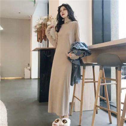 Women Korean Fashion Medium Long Sleeve Loose Long Skirt Knit Dress