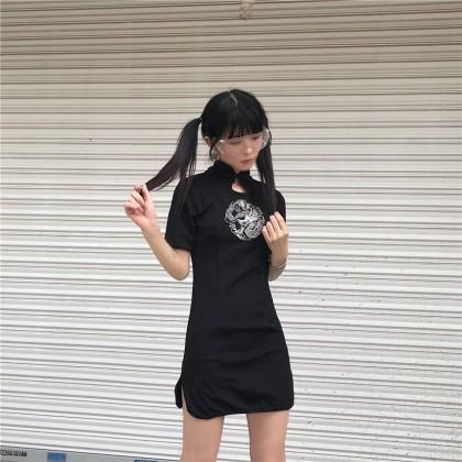 Women Korean Fashion Chinese Style Retro Black Skirt Dress