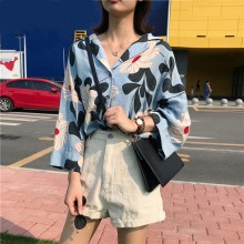 Women Korean Fashion Bat Sleeve Big Floral V Neck Chic Shirt
